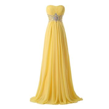 Women Fashion Free Shipping Strapless Chiffon Formal Party Dress Long Evening Dresses 2016 hot Yellow Floor Length Prom Gowns