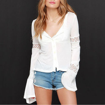 White Double Breast Bell Sleeve With Lace Cardigan