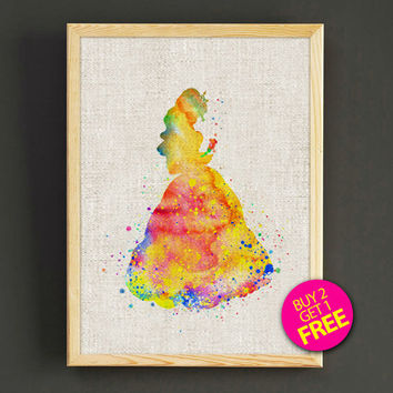 Beauty and the Beast Belle Watercolor Art Print Disney Princess Poster House Wear Wall Decor Gift Linen Print - Buy 2 Get 1 FREE - 94s2g