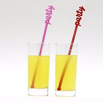 Happy Birthday Girl Colorful Party Swizzle Sticks