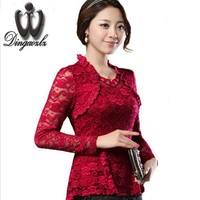 2016 Plus size Women clothing Spring lace Shirt Tops Cutout basic female Elegant long-sleeve Lace Blouses shirts M-4XL