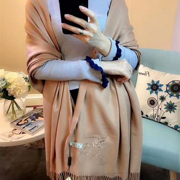 Best Online Sale Luxury Burberry Keep Warm Scarf Embroidery Scarves Winter Wool Shawl Feel Silky And Delicate - Apricot