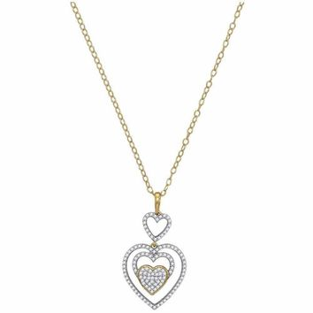 10kt Yellow Gold Women's Round Diamond Triple Nested Heart Pendant Necklace 1-3 Cttw - FREE Shipping (US/CAN)