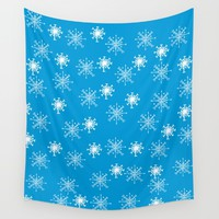Snowflake Pattern Wall Tapestry by Scott Hervieux