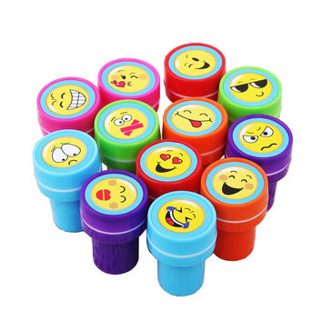 12PCS Cute Cartoon Rubber Stamp Smile Expression Self Inking Christmas Rubber Stamps Set for Scrapbooking Gifs Toys for children