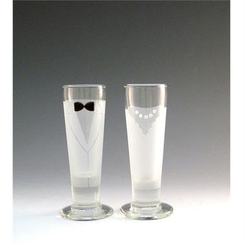 2 Newlywed Shot Glasses - Sandblasted