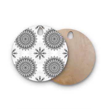 "Julia Grifol ""Black Mandala"" White Black Round Wooden Cutting Board"