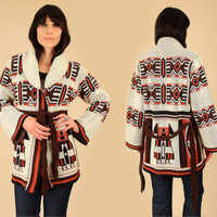 Wrap Sweater ViNtAgE 70's Bell Sleeves Chunky Cardigan Bohemian HiPPiE BoHo Ethnic Tribal Aztec M Geo