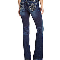 Miss Me Fleur-De-Lis Bootcut Jeans - Medium Blue