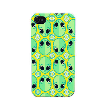 Sad Alien And Daisy Pattern Style Plastic Case Cover for Apple iPhone 4 4s 5 5s 5c 6 6s Plus