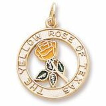 Yellow Rose Of Texas Charm in Yellow Gold Plated