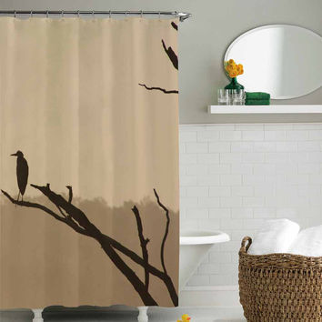 landscape bird shower curtain,shower curtain size 36x72 48x72 60x72 66x72