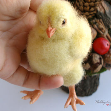 Baby chicken Needle felted Bird OOAK  Felted toy  Fiber cute chick art felting Miniature  symbol  2017 Easter Chick needle felted animal