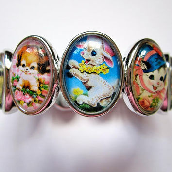 Kitsch animal cuff cameo bracelet