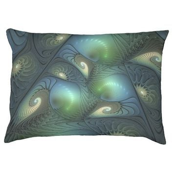 Spirals Beige Green Turquoise Fantasy Fractal Pet Bed
