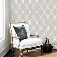 Tiffany Knots Light Grey PEEL & STICK Repositionable Fabric Wallpaper
