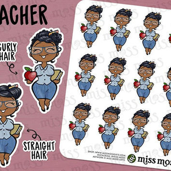 Teacher Back to School College Stickers, Brown Skin, Plus Size Curvy, African American Black - Erin Condren, Happy Planner, Filofax, Kikki K