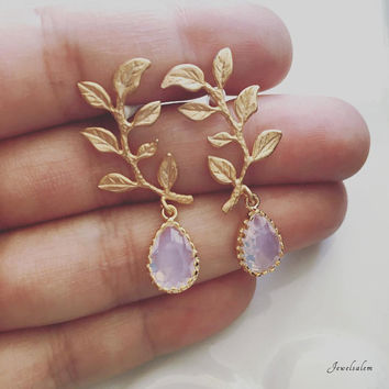 Leaf Earrings, Bridal Earrings, Gold Blush Pink Opal, Wedding Jewelry, Bride, Dangling Earrings, Bridesmaids Earrings Set, Gift, Birthstone