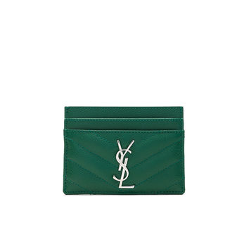 Saint Laurent Monogramme Card Case in Grass | FWRD