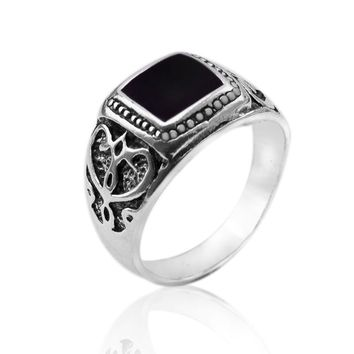 JEWELRY RING High Quality Antique Silver Plated Men Ring Christmas New Ring Black Square Enamel Rings Fine Jewelry
