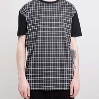 BLACK GRID PRINT SKATER FIT T-SHIRT - Men's T-Shirts & Vests - Clothing