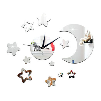Living Room Wall Clock 3D Moon Star Mirror   silver