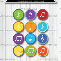 Printable Cupcake Toppers, Music, Recital, Instrument, Music Notes, Musical, Band, Rainbow Birthday, Party Decorations,DIY, INSTANT DOWNLOAD