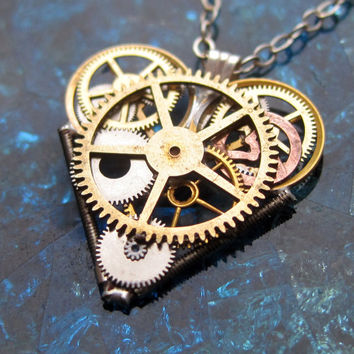 "Mini Watch Parts Heart Necklace ""Nouveau"" Elegant Industrial Heart Pendant Steampunk Sculpture Gershenson-Gates Mechanical Mind Christmas"