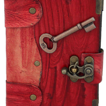 Key Red Leather Mini Journal with Latch