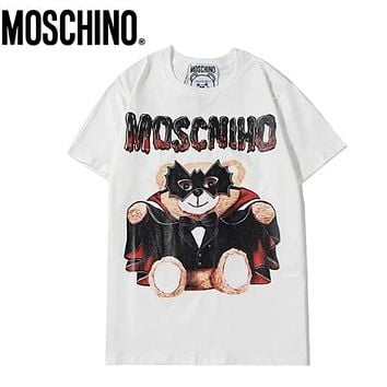 Moschino Summer New fashion letter bear print couple top t-shirt White