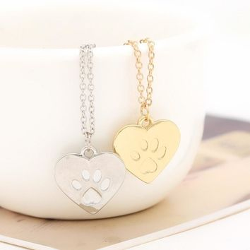 Lovers Valentine's Day Gift God of love Heart Paw Claw of Dog Kitty Cat Pendant Necklace Gold Silver Couples Jewelry