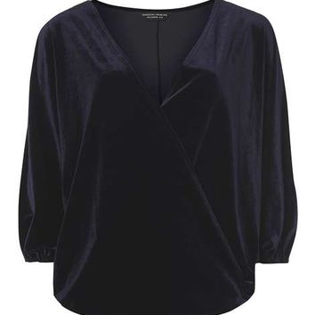 Navy Velvet Wrap Top - View All New In - New In