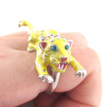 Adorable 3D Leopard Cheetah Shaped Double Finger Enamel Ring | DOTOLY