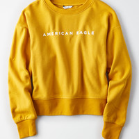 AE 90's Branded Crew Neck Sweatshirt, Yellow