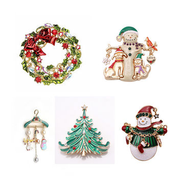 1PC Gold Plated Christmas Snowman Costume Brooch Pins Cheap Red Rhinestone Christmas Brooches Lot Collar Clip For Scarf Buckle