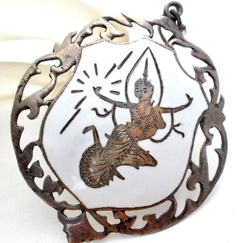 Sterling Silver White Enamel Siam Dancer Pendant