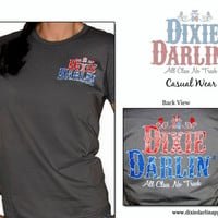 Dixie Darlin' Apparel, solid charcoal grey, printed front and back, cotton, women's cut t shirt