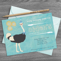 Ostrich Birthday Invitation For Kids, Watercolor Animal Birthday Party Invite, Bird Invitation, Printable Animal Invitation, Ostrich Invite
