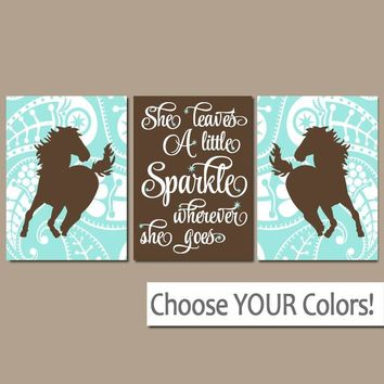 GIRL HORSE Wall Art, COWGIRL Bedroom Decor, Baby Girl Nursery Decor, Canvas or Prints, She Leaves A Little Sparkle, Paisley, Set of 3