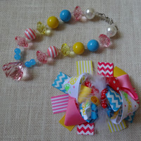 Girls Chunky Necklace- Bubblegum Chunky Beads Necklace- Pink Chunky Necklace- Pink Feather Hair bow-  Chevron Hair bow- Aqua Chunky Necklace
