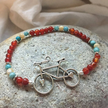 "Carnelian, Mother of Pearl, and Turquoise Jasper Beads Silver Bicycle Stretch Bracelet ""Take a Ride With Me"""