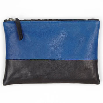 FLAVIA LEATHER COLORBLOCK CLUTCH-black/cobalt-accessories-one