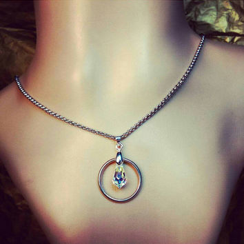 Silver Halo O Ring Choker/Day Collar w/ AUTHENTIC Swarovski Crystal Prismatic Charm BDSM DDLG Submissive Alternative Discreet Bohemian Sexy