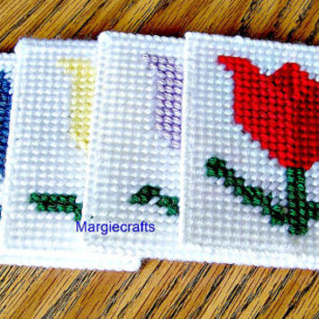 Tulip Coasters, Handmade Drink Coasters, Glass Coasters, Table Protectors, Drink Placemat, Summer, Square