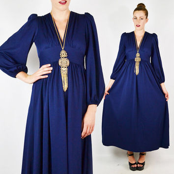 vintage 70s navy blue EMPIRE WAIST dress / 70s navy blue maxi dress / navy blue dress / 70s goddess maxi dress / 70s boho hippie / pxs p xs