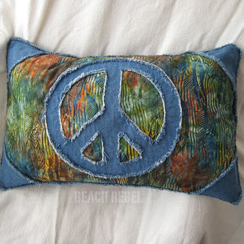 "Peace sign boho pillow cover with batik in green, teal, blue, rust and blue distressed denim 14""x22"" pillow cover"