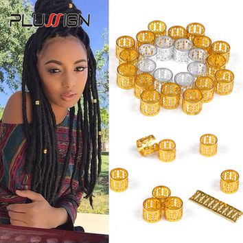 Adjustable Hair Cuff Braids 50Pcs 100Pcs Pink Red Green Blue Purple Silver Gold Dreadlock Rings Hair Beads For Braids For Girls