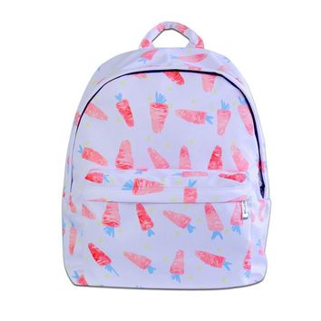 10 Preppy style student canvas backpack carrot rabbit leaf ice cream starry night printing girl's cartoon school bag laptop bag