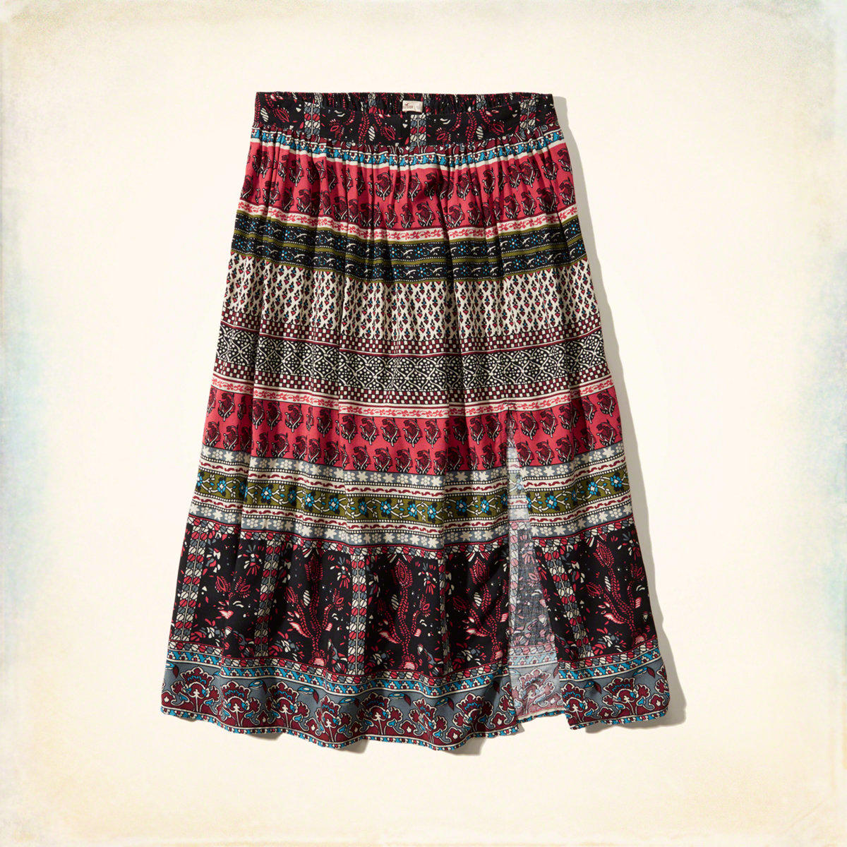 pattern slit midi skirt from hollister co