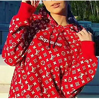 LV Supreme Louis Vuitton Supreme Red/White Monogram Hoodie